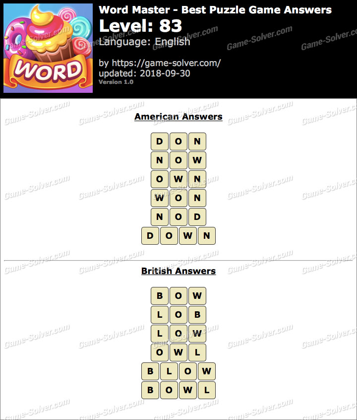 Word Master-Best Puzzle Game Level 83 Answers