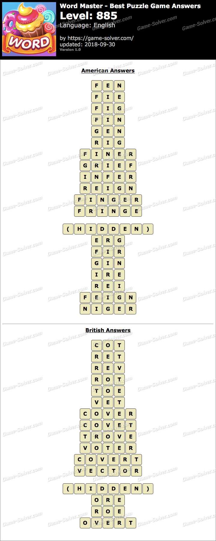 Word Master-Best Puzzle Game Level 885 Answers