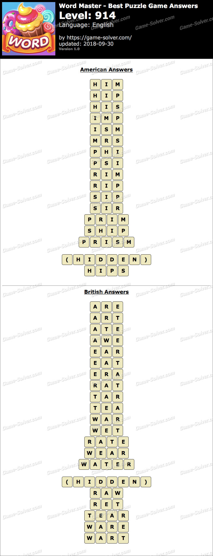 Word Master-Best Puzzle Game Level 914 Answers
