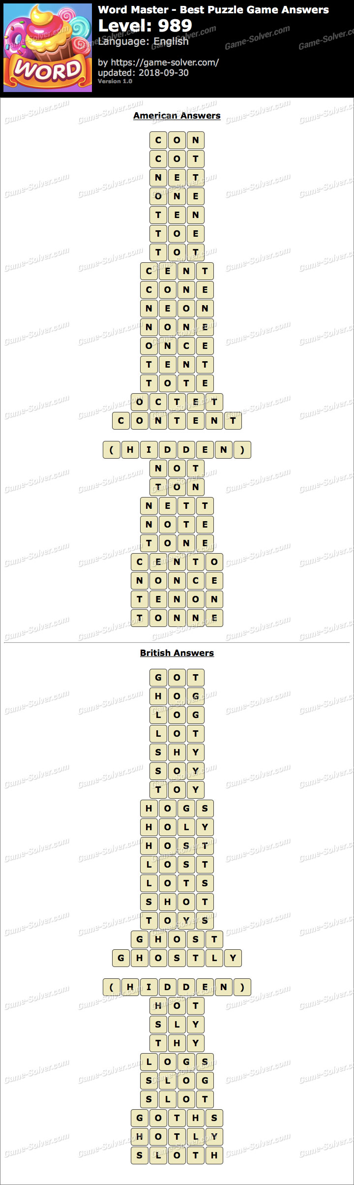 Word Master-Best Puzzle Game Level 989 Answers