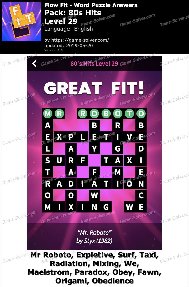 Flow Fit 80s Hits-Level 29 Answers