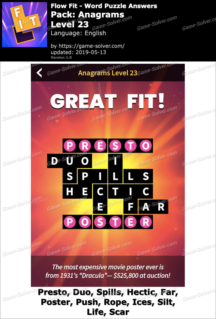 Flow Fit Anagrams-Level 23 Answers