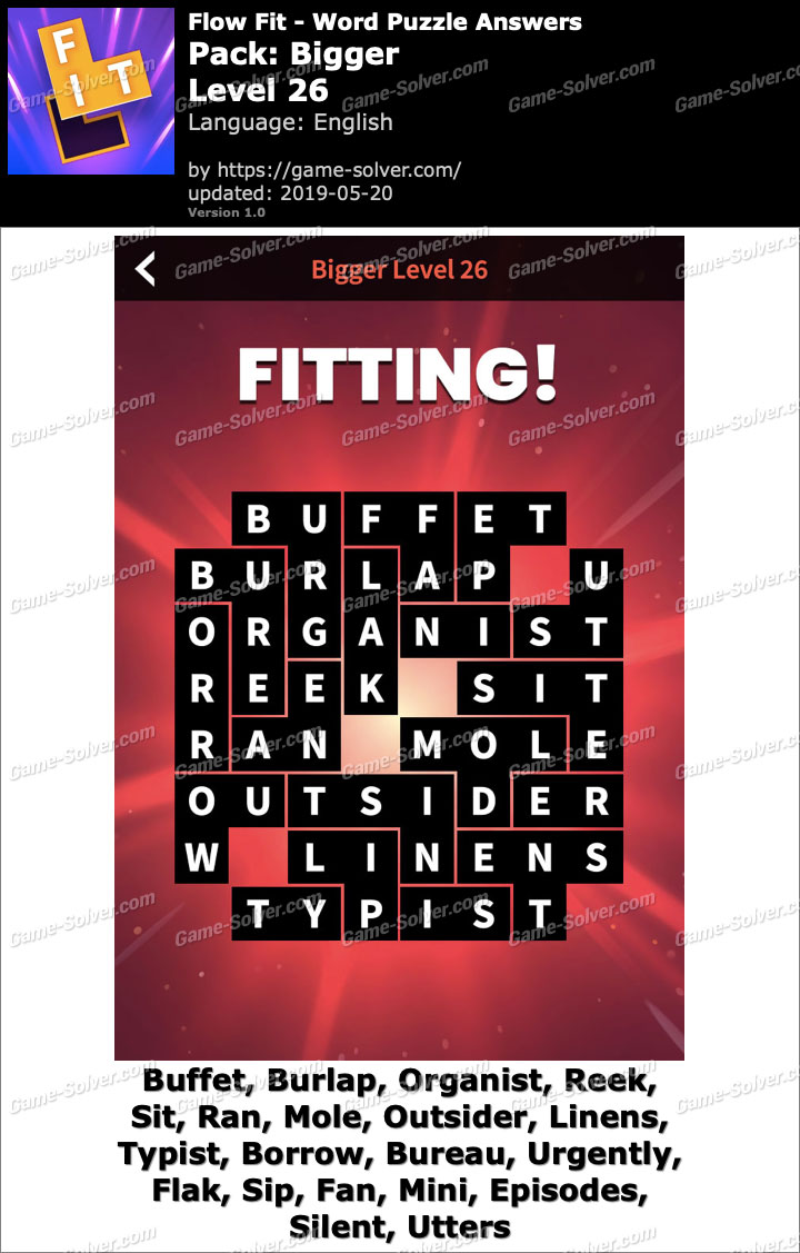 Flow Fit Bigger-Level 26 Answers