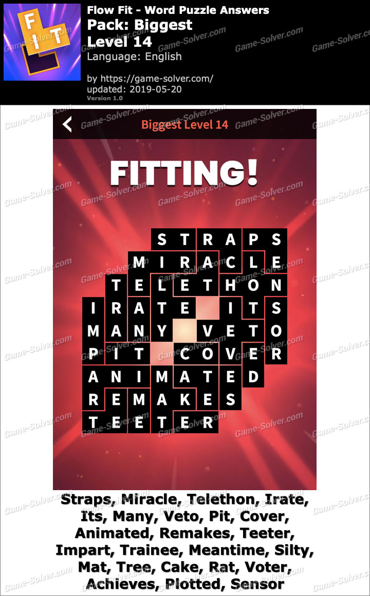 Flow Fit Biggest-Level 14 Answers