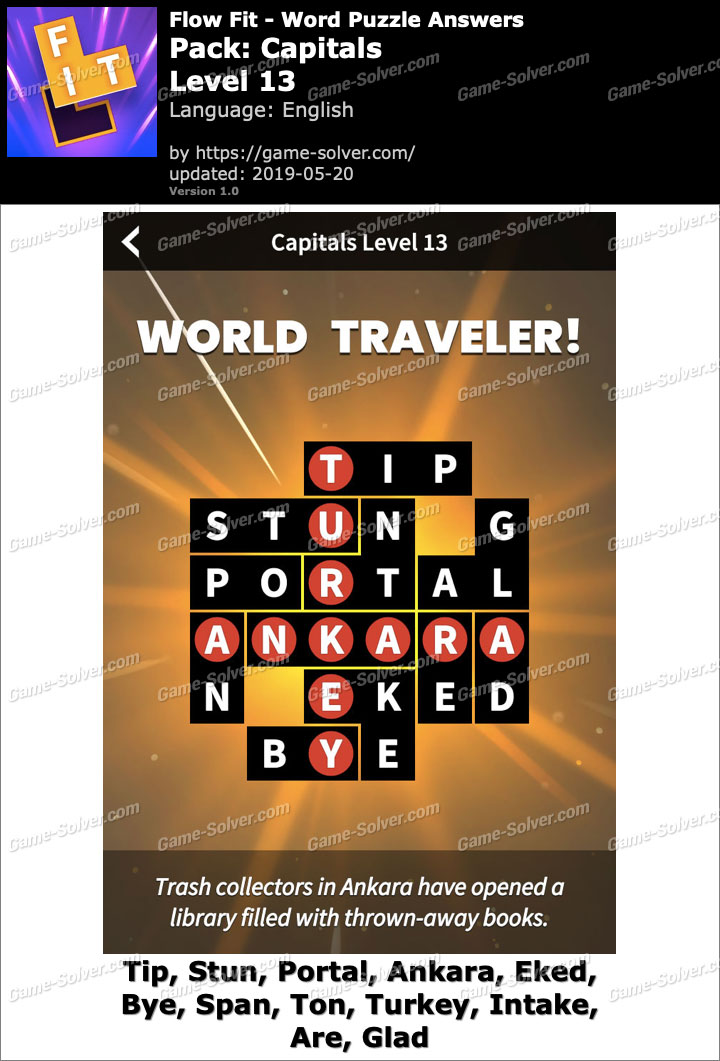 Flow Fit Capitals-Level 13 Answers