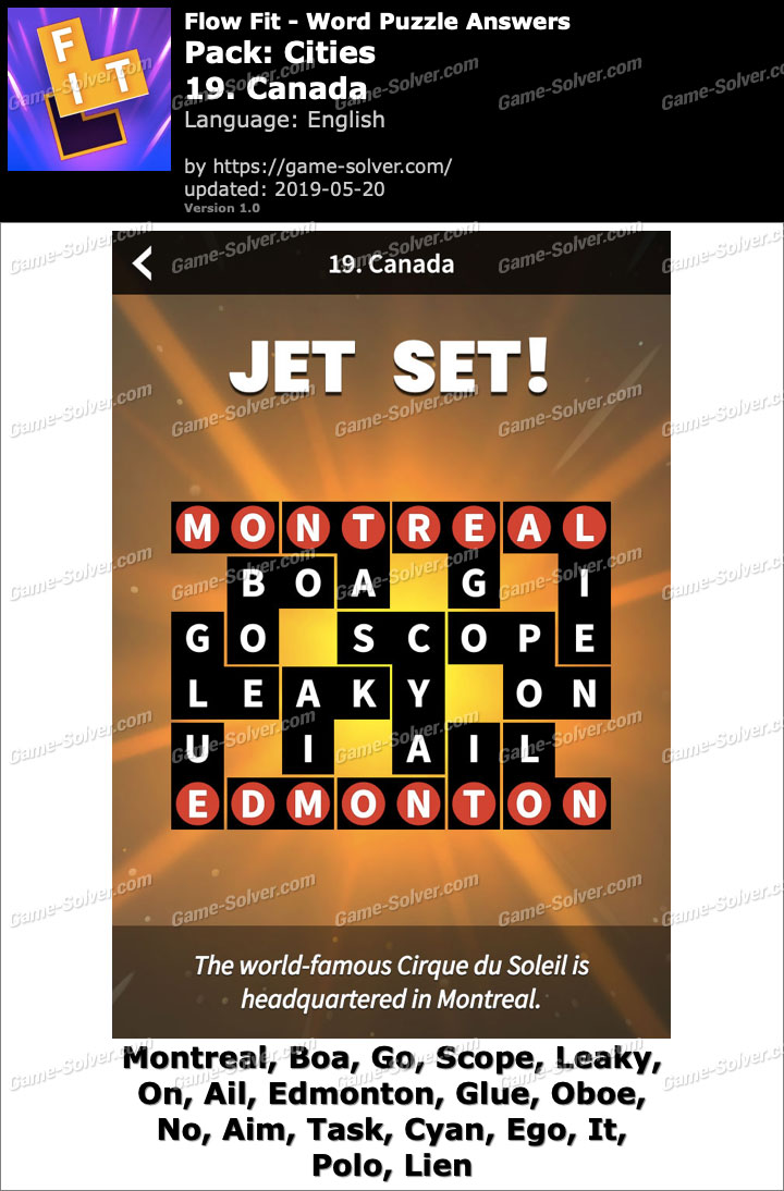 Flow Fit Cities-19 Canada Answers