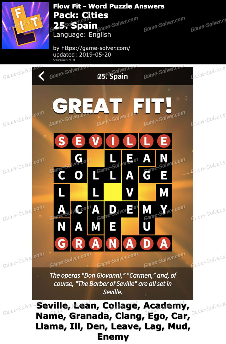 Flow Fit Cities-25 Spain Answers