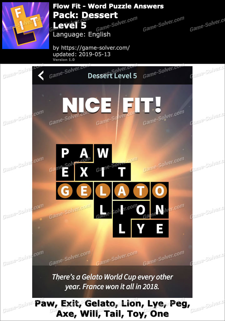 Flow Fit Dessert-Level 5 Answers