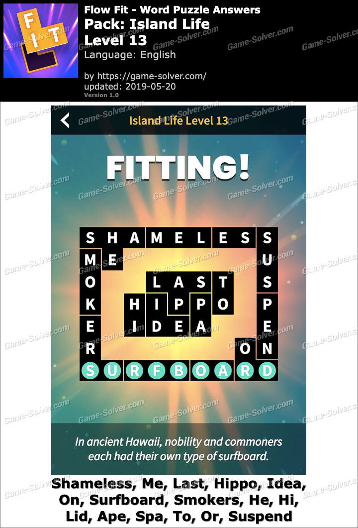 Flow Fit Island Life-Level 13 Answers