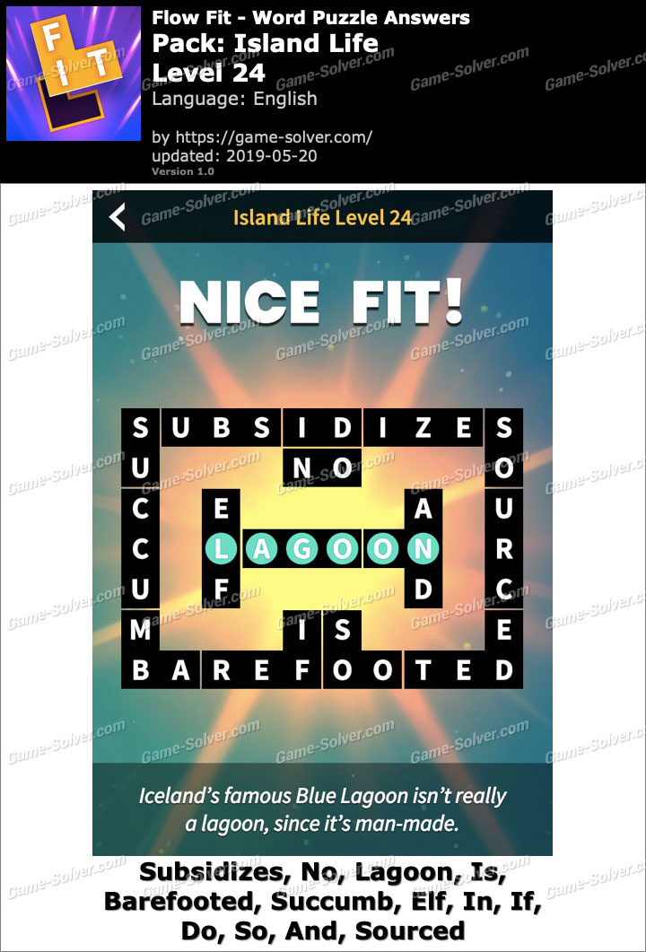 Flow Fit Island Life-Level 24 Answers