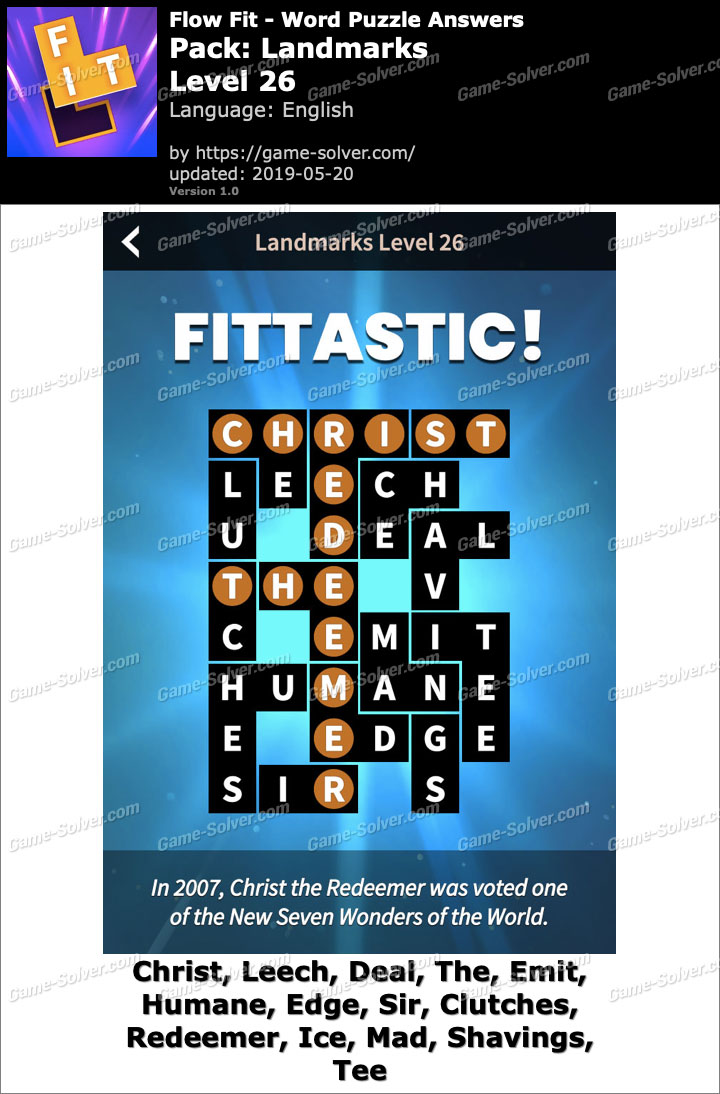 Flow Fit Landmarks-Level 26 Answers