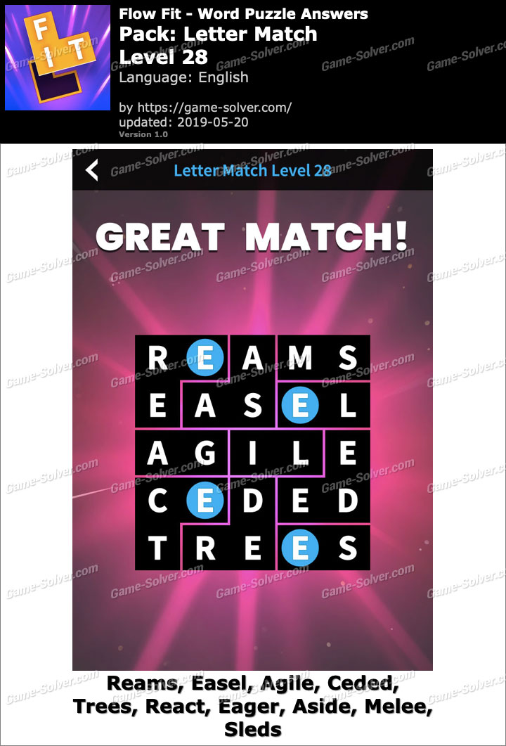 Flow Fit Letter Match-Level 28 Answers