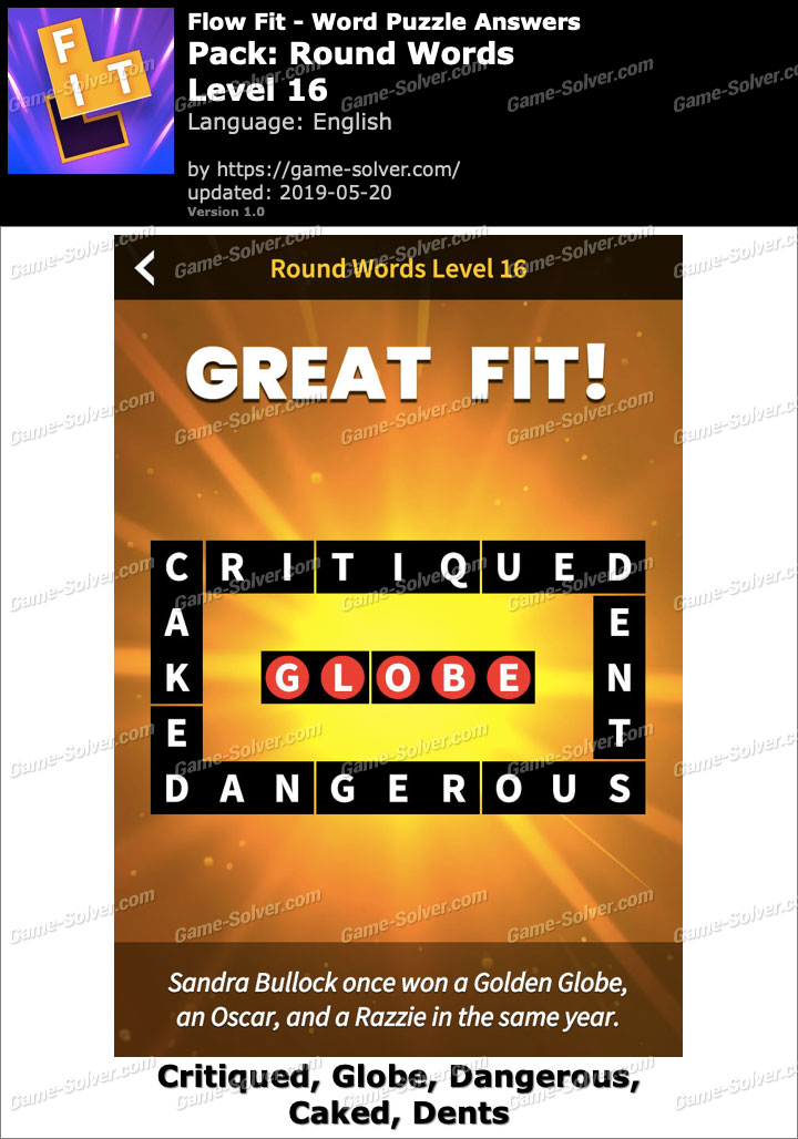 Flow Fit Round Words-Level 16 Answers