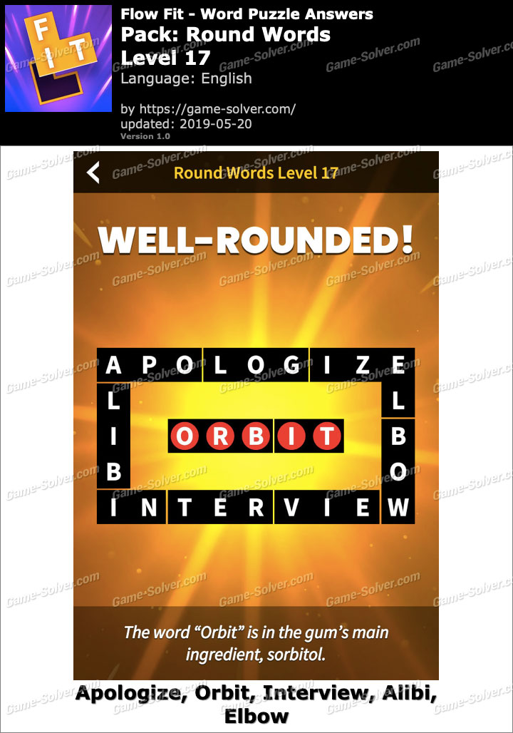 Flow Fit Round Words-Level 17 Answers