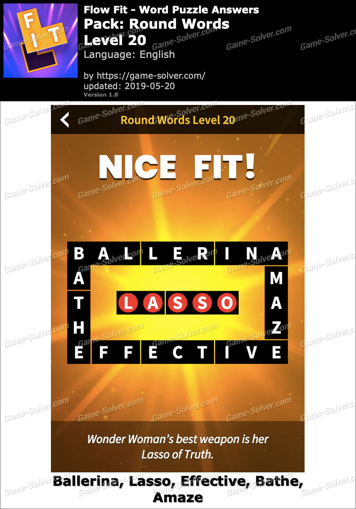 Flow Fit Round Words-Level 20 Answers