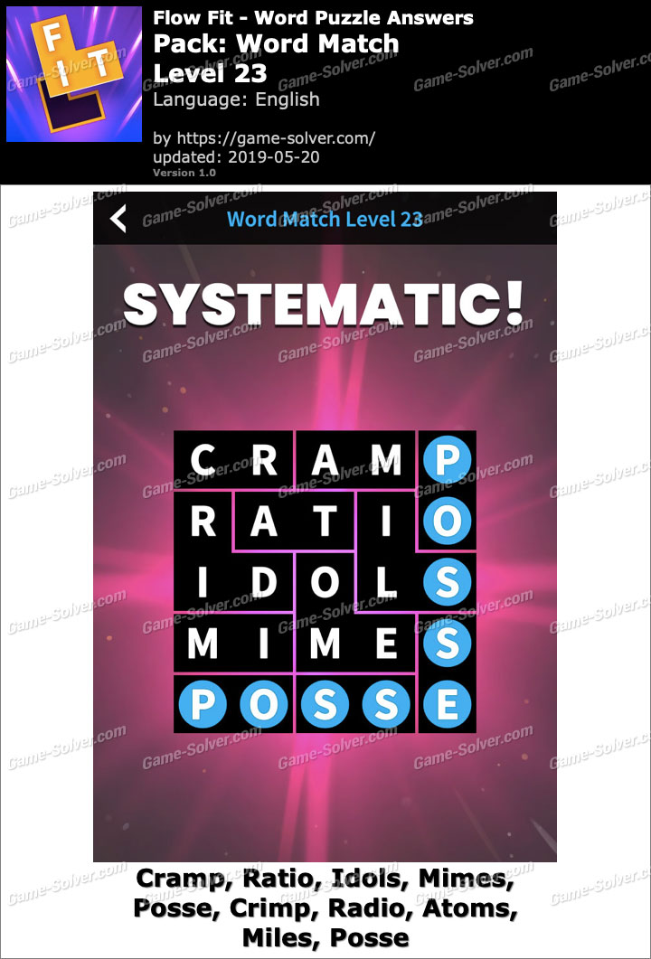 Flow Fit Word Match-Level 23 Answers