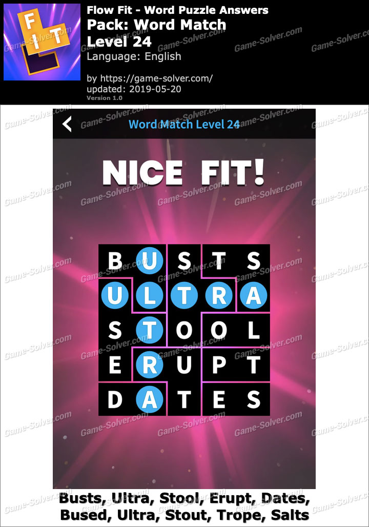 Flow Fit Word Match-Level 24 Answers