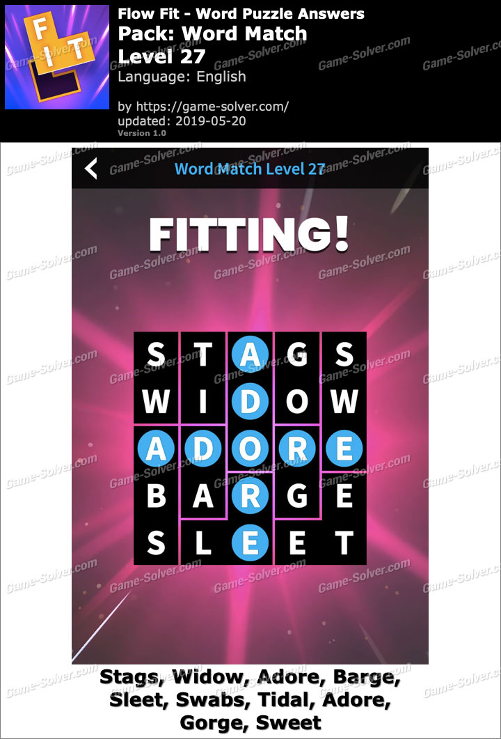 Flow Fit Word Match-Level 27 Answers