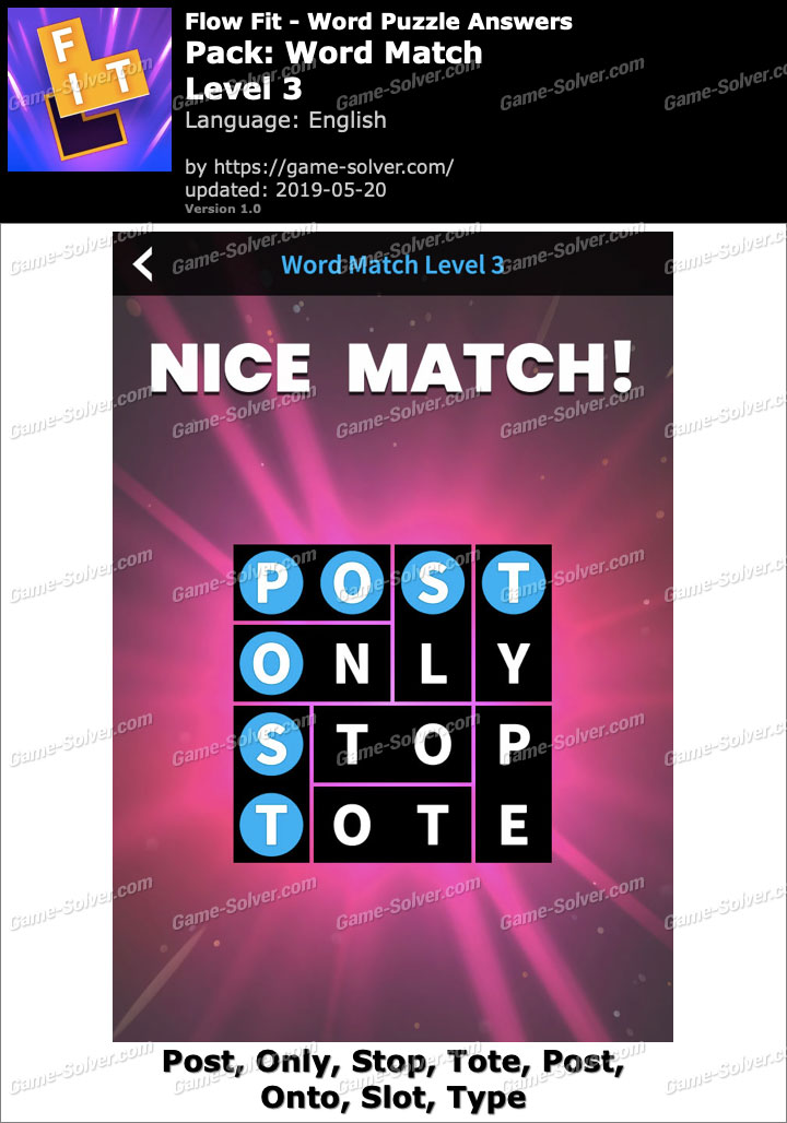 Flow Fit Word Match-Level 3 Answers