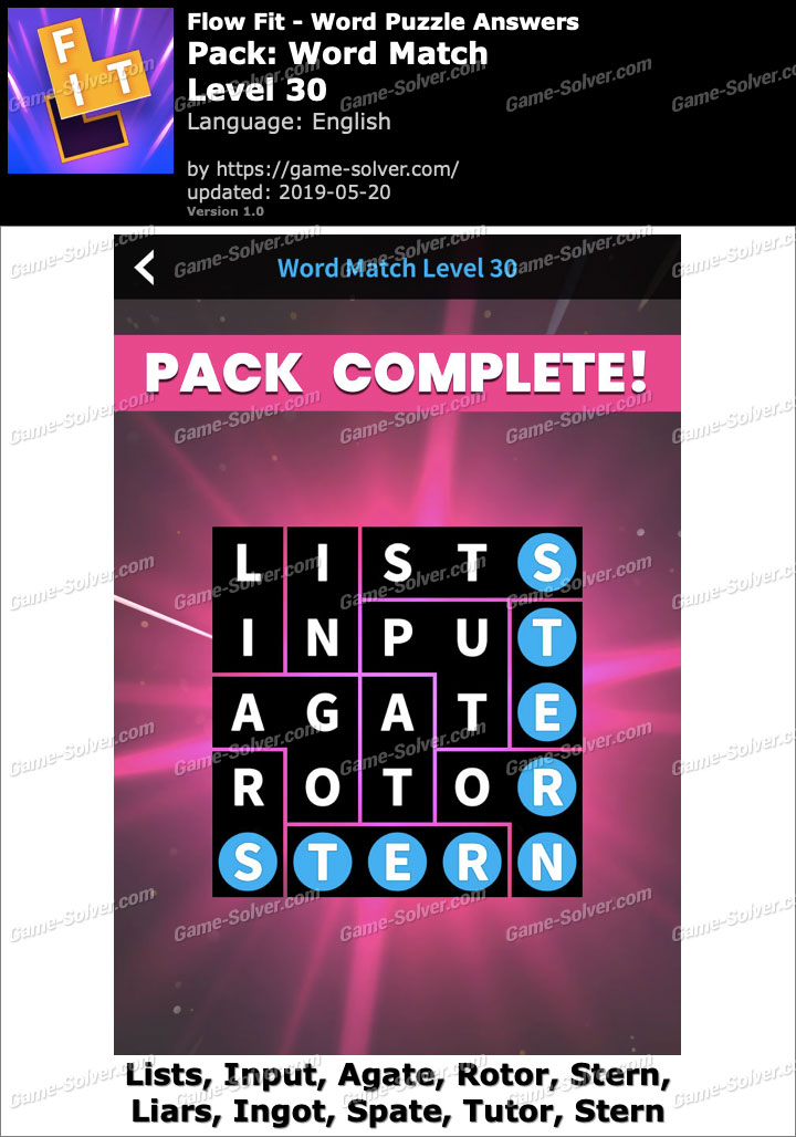 Flow Fit Word Match-Level 30 Answers
