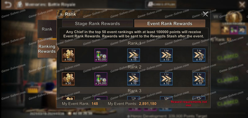Memories: Battle Royale Reward