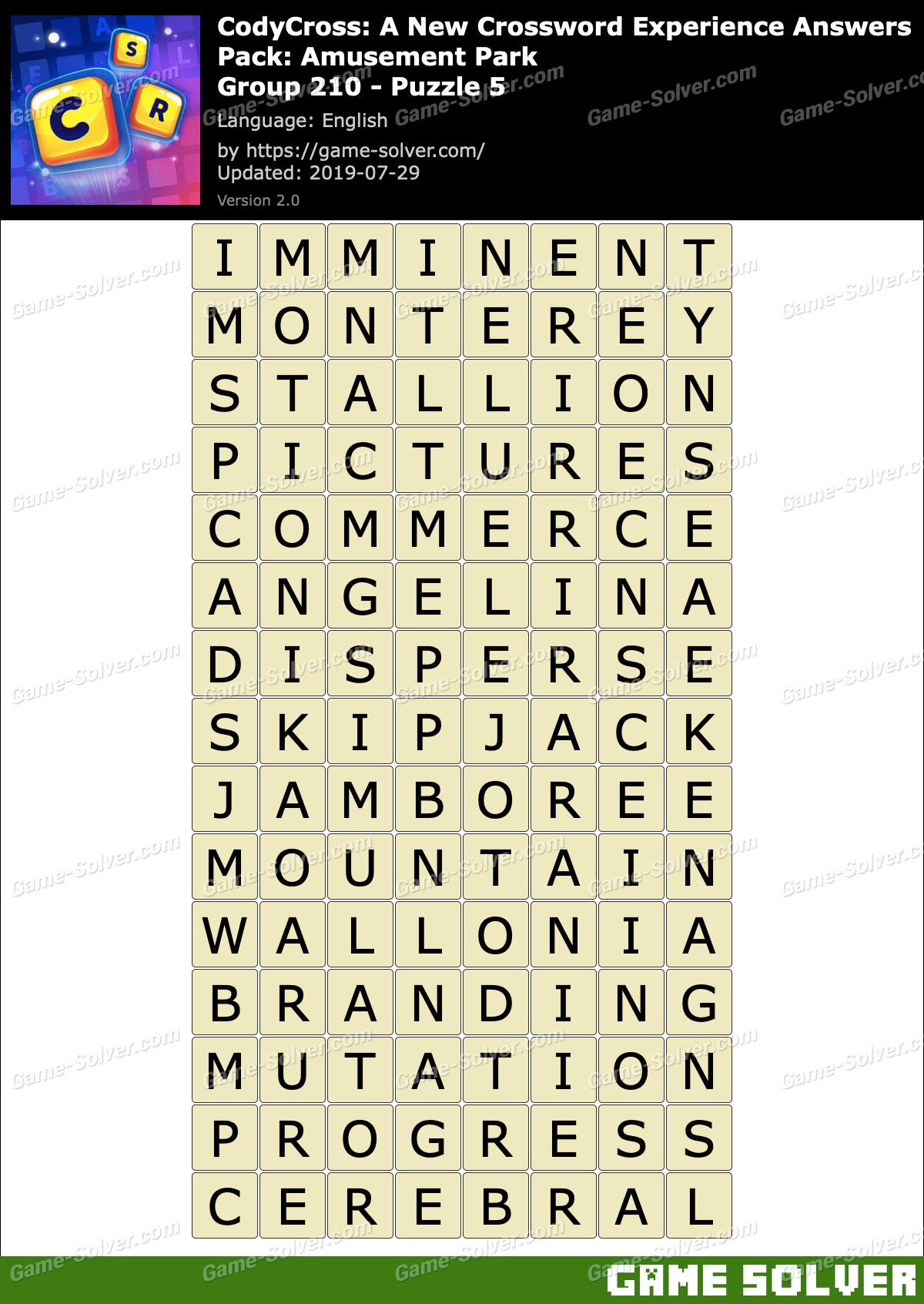 CodyCross Amusement Park Group 210-Puzzle 5 Answers