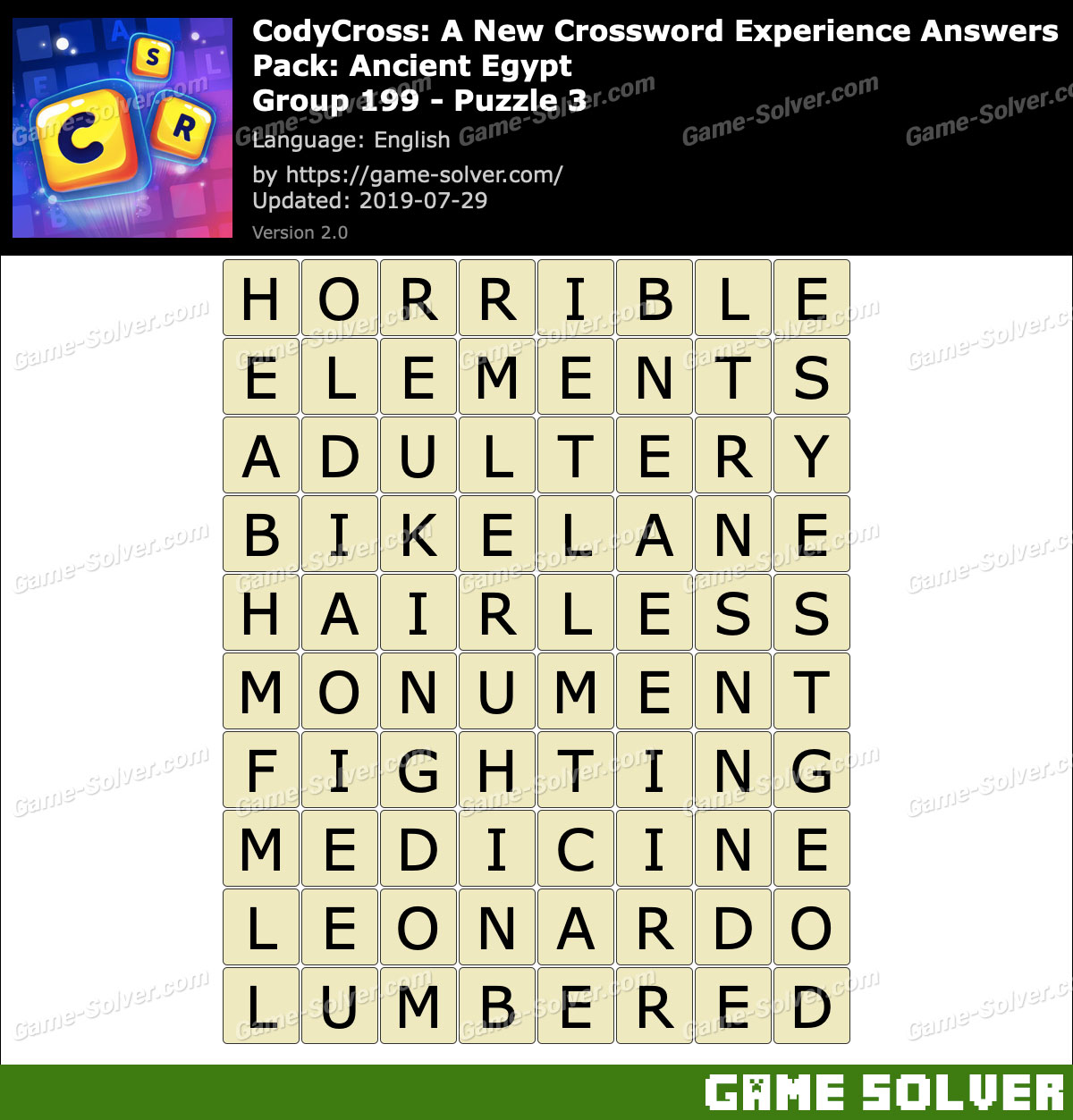 CodyCross Ancient Egypt Group 199-Puzzle 3 Answers
