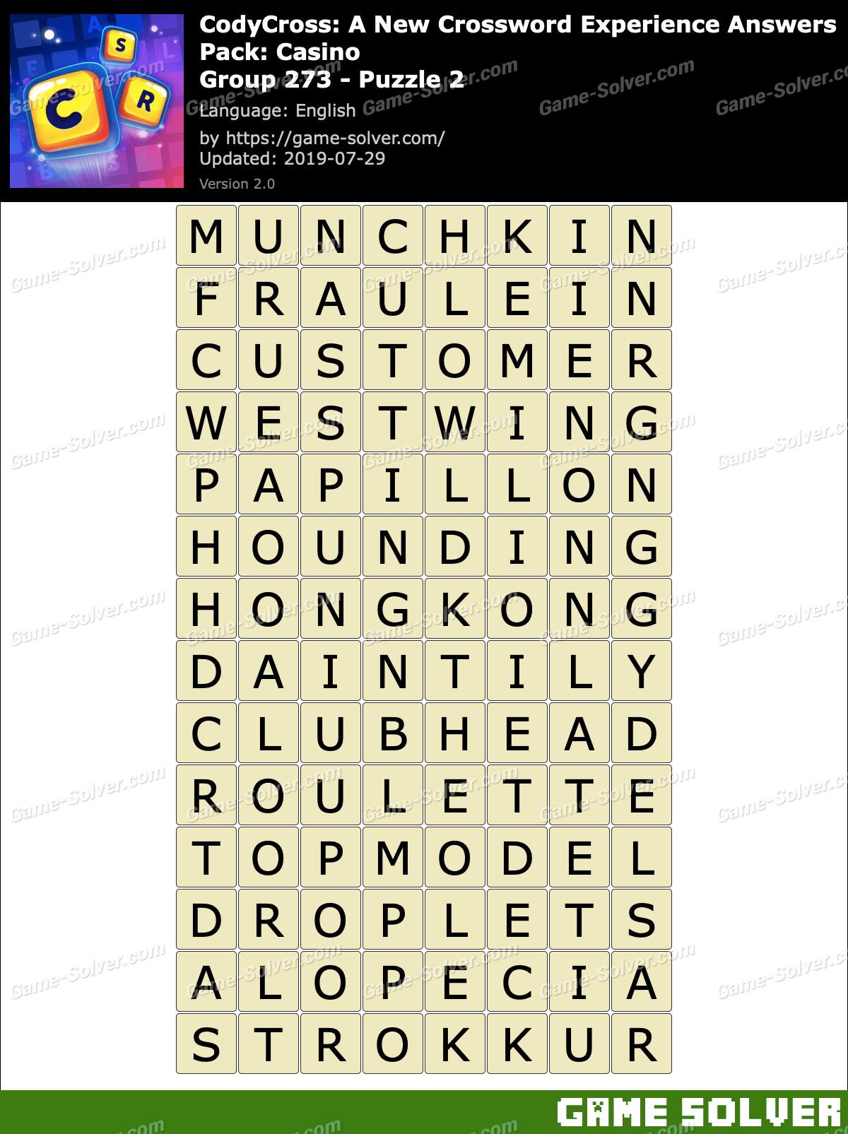 CodyCross Casino Group 273-Puzzle 2 Answers