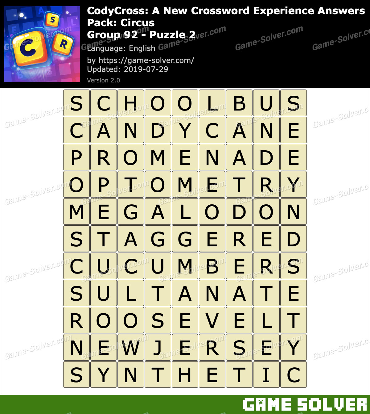 CodyCross Circus Group 92-Puzzle 2 Answers