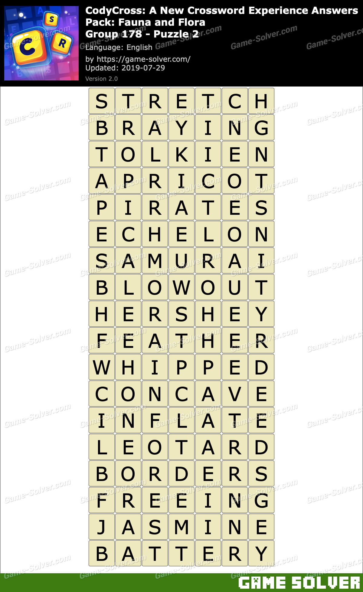 CodyCross Fauna and Flora Group 178-Puzzle 2 Answers