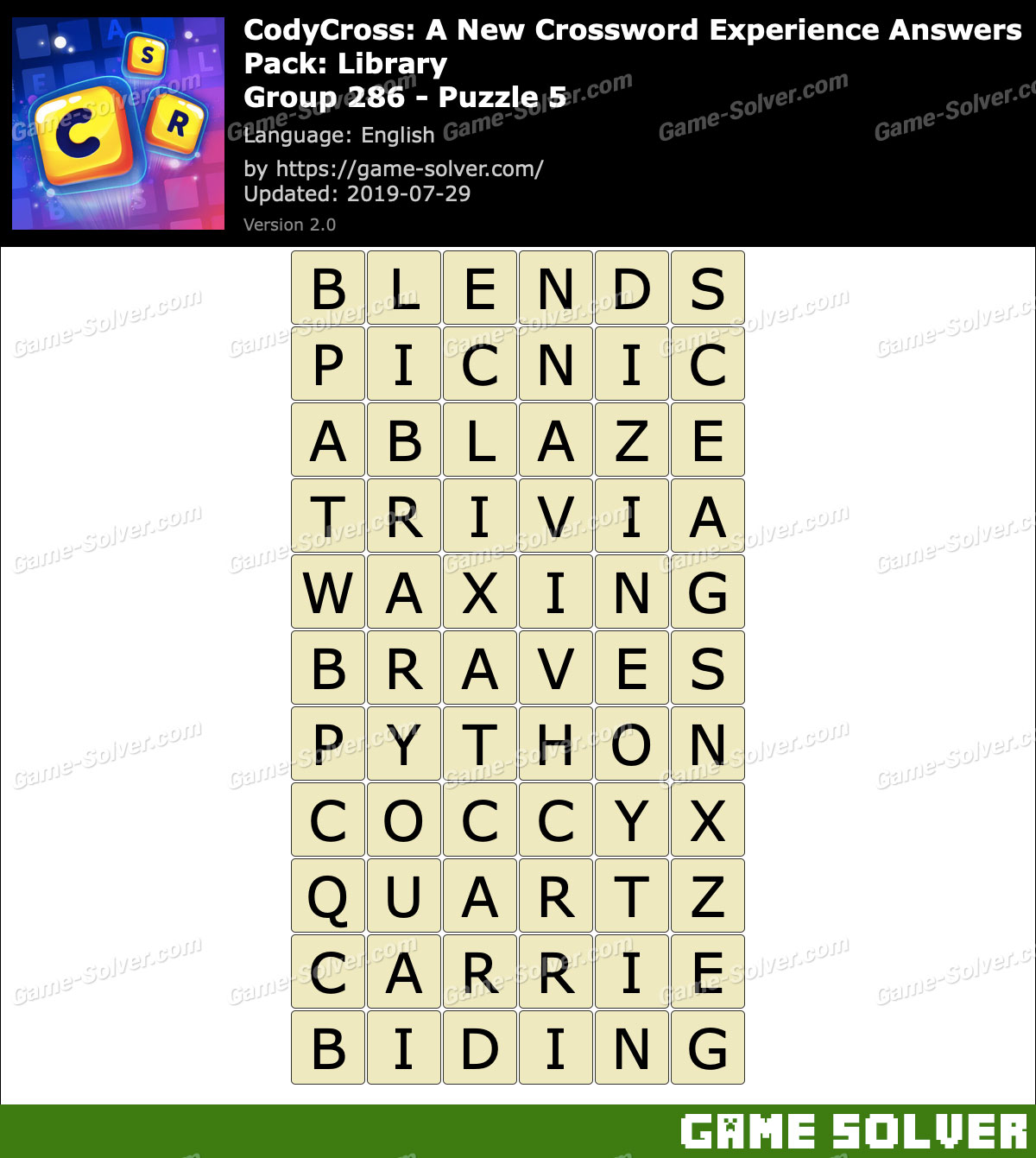 CodyCross Library Group 286-Puzzle 5 Answers - Game Solver