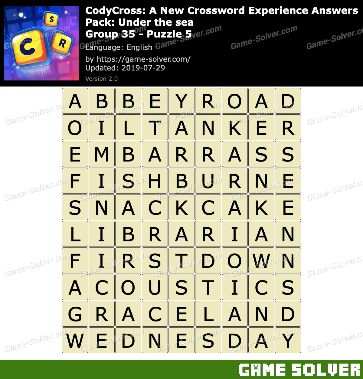 CodyCross Under the sea Group 35-Puzzle 5 Answers