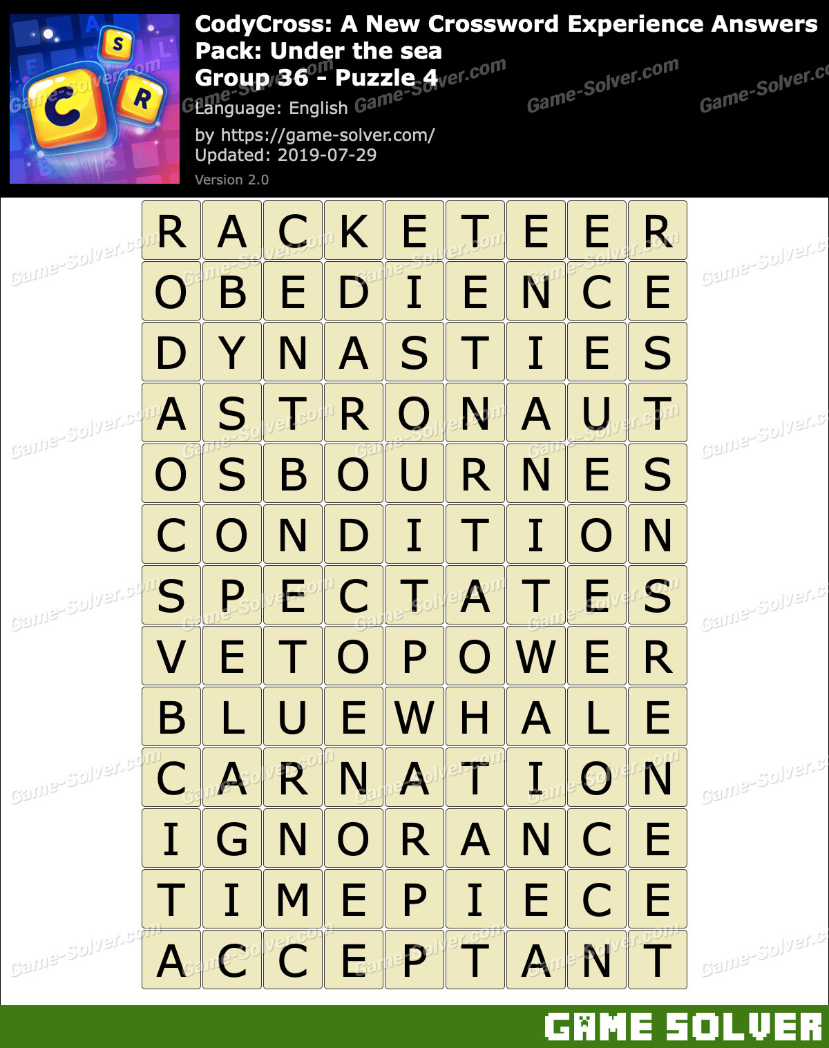 CodyCross Under the sea Group 36-Puzzle 4 Answers