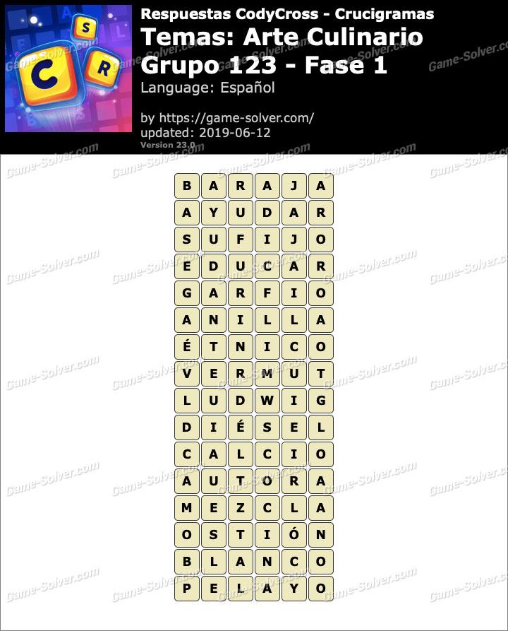 Respuestas CodyCross Arte Culinario Grupo 123-Fase 1
