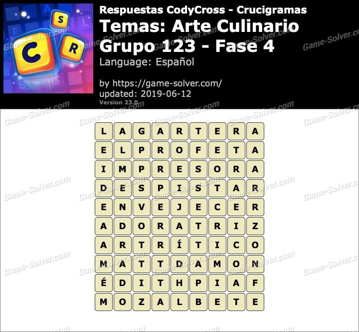 Respuestas CodyCross Arte Culinario Grupo 123-Fase 4