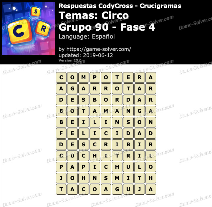 Respuestas CodyCross Circo Grupo 90-Fase 4 - Game Solver