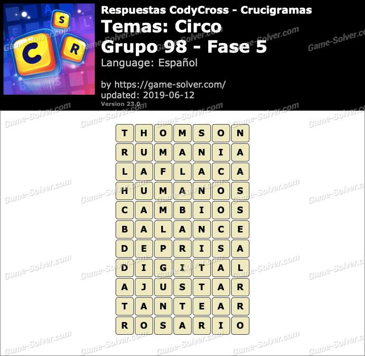 Respuestas CodyCross Circo Grupo 98-Fase 5