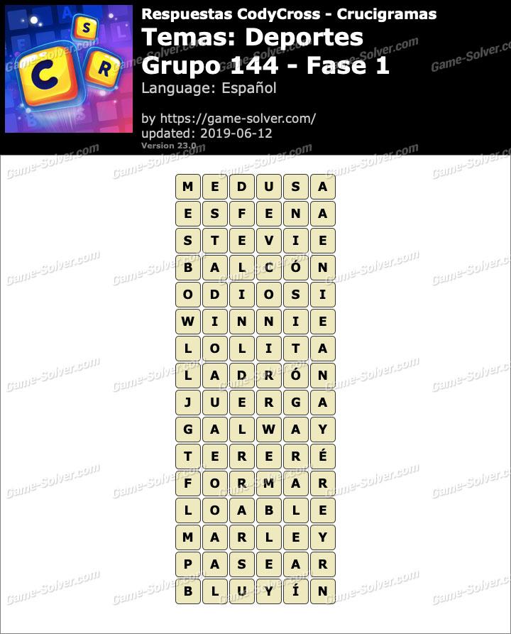Respuestas CodyCross Deportes Grupo 144-Fase 1