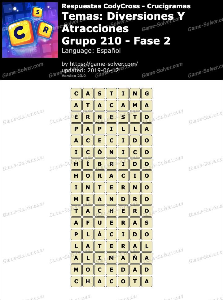 Respuestas CodyCross Diversiones y Atracciones Grupo 210-Fase 2