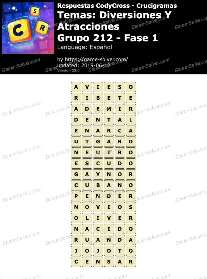 Respuestas CodyCross Diversiones y Atracciones Grupo 212-Fase 1