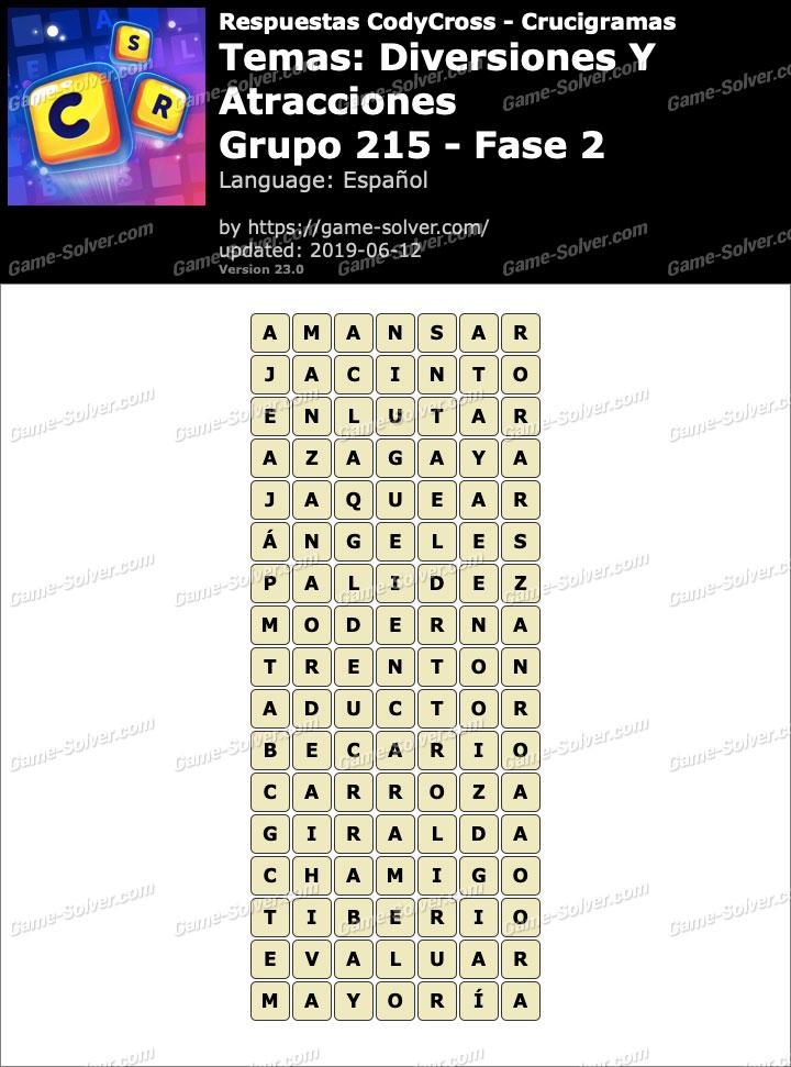Respuestas CodyCross Diversiones y Atracciones Grupo 215-Fase 2