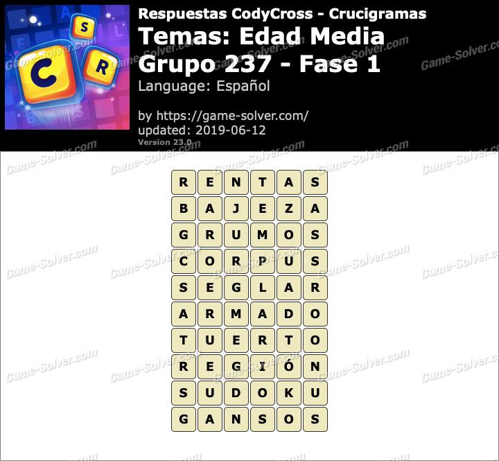 Respuestas CodyCross Edad Media Grupo 237-Fase 1