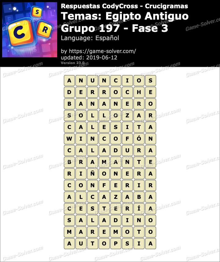 Respuestas CodyCross Egipto Antiguo Grupo 197-Fase 3