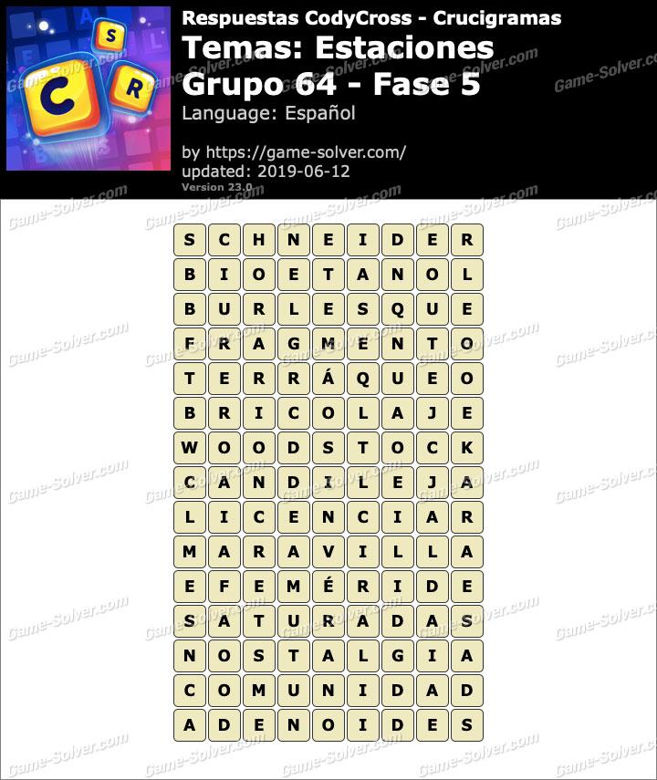 Respuestas CodyCross Estaciones Grupo 64-Fase 5
