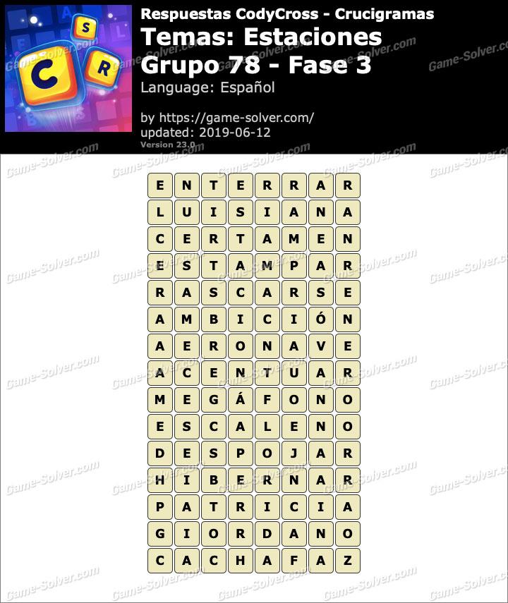 Respuestas CodyCross Estaciones Grupo 78-Fase 3
