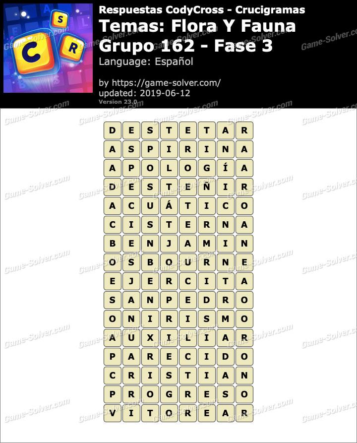 Respuestas CodyCross Flora y Fauna Grupo 162-Fase 3