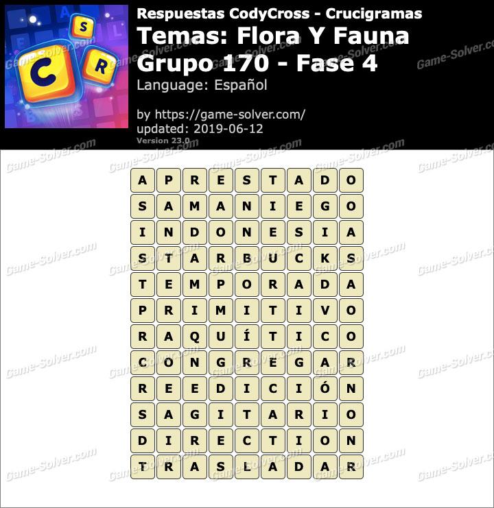 Respuestas CodyCross Flora y Fauna Grupo 170-Fase 4