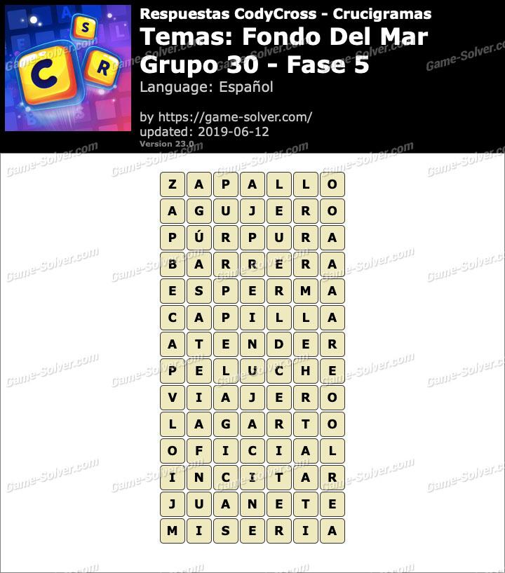 Respuestas CodyCross Fondo del mar Grupo 30-Fase 5