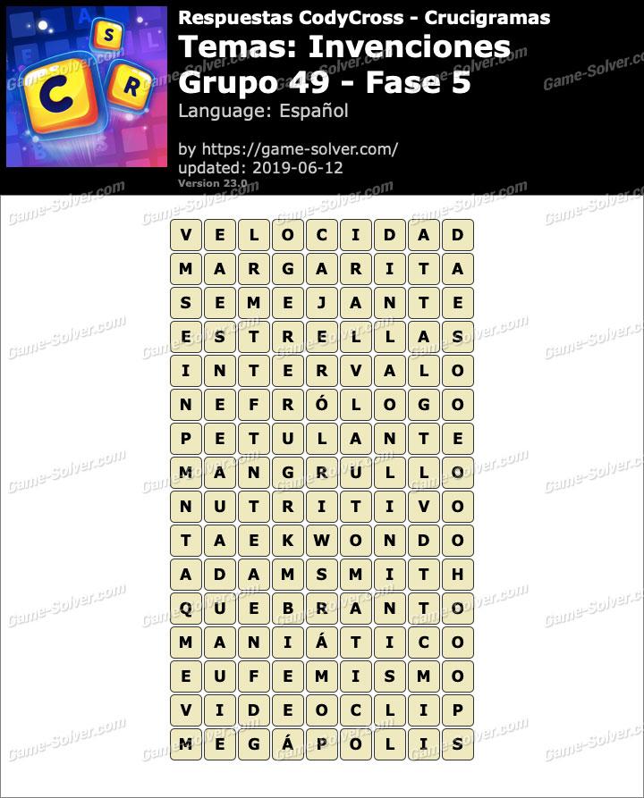 Respuestas CodyCross Invenciones Grupo 49-Fase 5