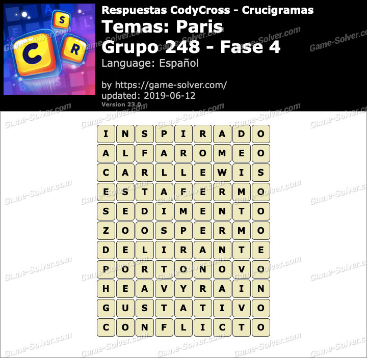 Respuestas CodyCross Paris Grupo 248-Fase 4